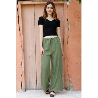 Kemerli Trend Bol Pantolon Noktalıyeşil - 0752.128.