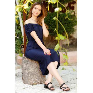 Yakası Lastikli Elbise Lacivert - 4279.716.