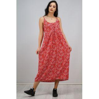 İp Askılı Bağcıklı Elbise Kırmızı - 6592.1293.