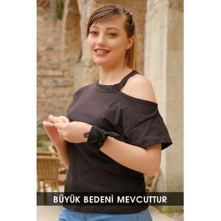 Büyük Beden Yaka Detaylı Bluz Siyah - 1735.1256.