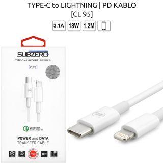 (TYPE-C To Lightning PD Kablu) 18W 3.1A 1.2 Metre Subzero CL95
