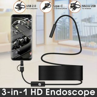 Endoskop 3 in 1 Yılan Kamera USB Micro Usb Type-C Uyumlu 15M