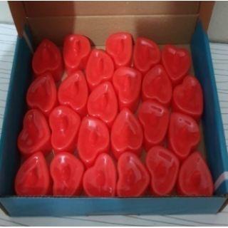 Led Işıklı Kalp Şekilli Kırmızı Mum 24'lü Paket