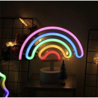 Neon Işıklı Gökkuşağı Masa Gece Lambası