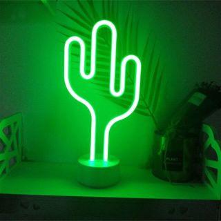 Neon Işıklı Kaktüs Masa Gece Lambası USB+Pil