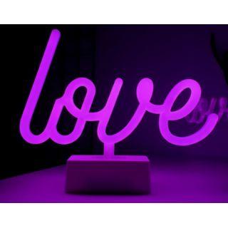 Neon Işıklı Love Yazılı Masa Gece Lambası
