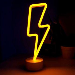 Neon Işıklı Şimşek Lamba USB+Pil