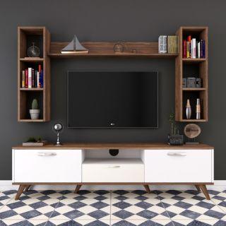 Çekmeceli Tv Ünitesi - Ceviz&Beyaz