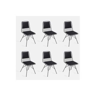 Theia Tasarım Sırt Minderli Tel Sandalye 6lı Set