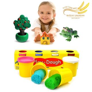 4 Renkli Buğday Unu Oyun Hamuru (Küçük Boy) - Play Dough