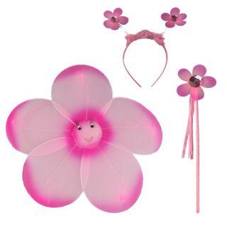 Çiçekli Kanat Seti 3 Parça - Pembe